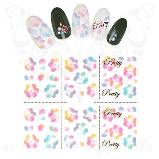Floral Nails Watercolor Flowers Water Decals