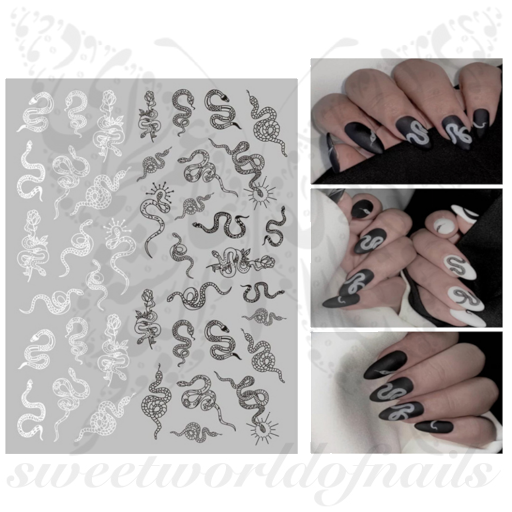 White Black Dragon Nail Art Nail Stickers