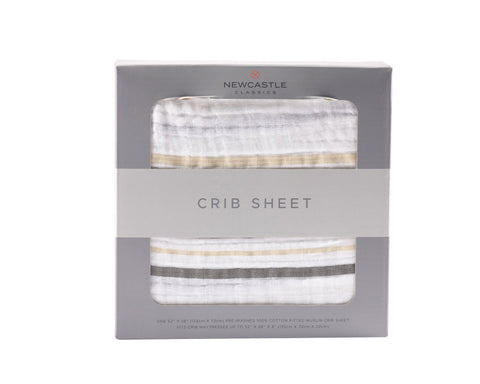 Gray and Gold Stripe Crib Sheet