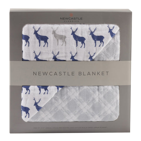 Blue Deer and Glacier Grey Blanket