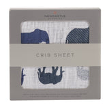 Blue Elephants Crib Sheet