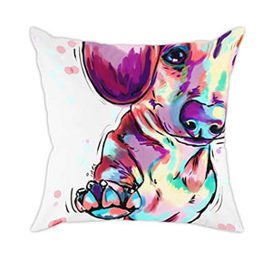Redland Art Cute Pet German Shepherd Dog Throw Pillow Covers Cotton Linen Sofa Decorative Cushion Cases for Home Decor 18×18 Inch