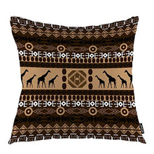 "Load image into Gallery viewer, oFloral Giraffe Throw Pillow Covers African Animal Indian Tribal Ethnic Geometric Art Decorative Square Pillow Case 18""X18"" Pillowcase Home Decor for for Sofa Bedroom Livingroom"