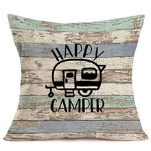 "Load image into Gallery viewer, Asminifor Pillow Covers Retro Colorful Wood Grain Background Style with Lake Rules Cotton Linen Throw Pillowcase Personalized Cushion Cover for Home Sofa Office Decorative Square 18""x18'' (Lake Rules)"