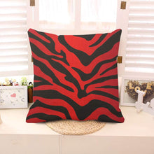 Load image into Gallery viewer, oFloral Red and Black Zebra Print Stripes Animal Print Throw Pillow Case Decor Cushion Cover 18x18 Inch Square Cotton Linen