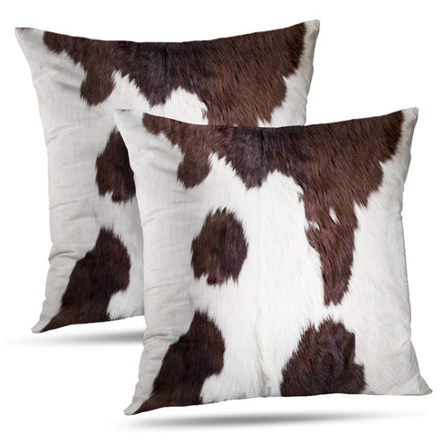 Set of 2 Decorativepillows Case Throw Pillow Covers for Couch/Bed 18 x 18 inch,Cow Skin Abstract Africa Animal Black Fabric Farm Fashion Home Sofa Cushion Cover Pillowcase Gift
