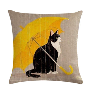 XIECCX Throw Pillow Covers Yellow Animal Cats Abstract Art Drama Cotton Linen Square Decorative Pillowcases Print Cushion 4 Pack for Sofa,Bedroom,Chair,Car Seat,Farmhouse 18 x 18