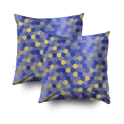 TOMWISH 2 Packs Hidden Zippered Pillowcase Yellow Gold Cobalt Sapphire Blue Hexagon VIP 18X18Inch,Decorative Throw Custom Cotton Pillow Case Cushion Cover for Home