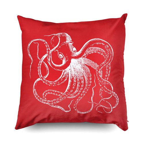 TOMWISH Hidden Zippered Pillowcase red Vintage Octopus Nautical Stripes 20X20Inch,Decorative Throw Custom Cotton Pillow Case Cushion Cover for Home Sofas,bedrooms,Offices,and More