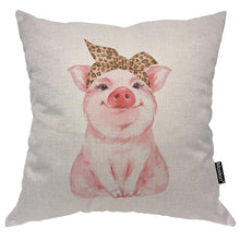 Load image into Gallery viewer, Moslion Pig Pillows Decorative Pillow Case Farm Animal Funny Cute Piggy Wearing Leopard Bandanna Throw Pillow Cover Square Cushion Accent Cotton Linen Home 18x18 Inch Pink