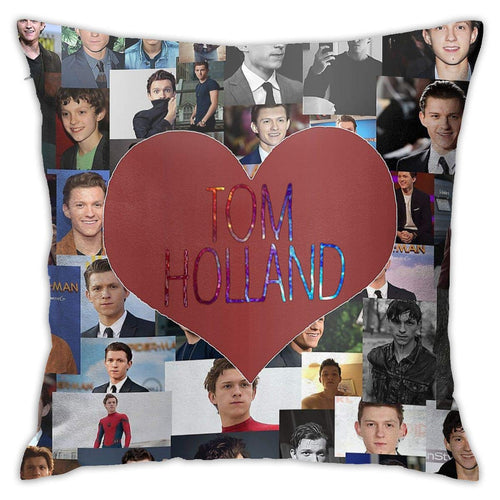 ZAZAHUI Lovely Tom Holland Pillow Case Casual Pillowcase Custom Cotton & Polyester Soft Square Zippered Cushion Throw Case Pillow Case Cover 18X18 (Twin Sides)