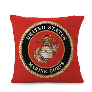 Bayyon Marine Corps Home Square Cotton Linen Sofa Cushion Covers Decorative Pillow Cases 18 X 18 Inch American Flag Zippered Custom Throw Pillow Cover