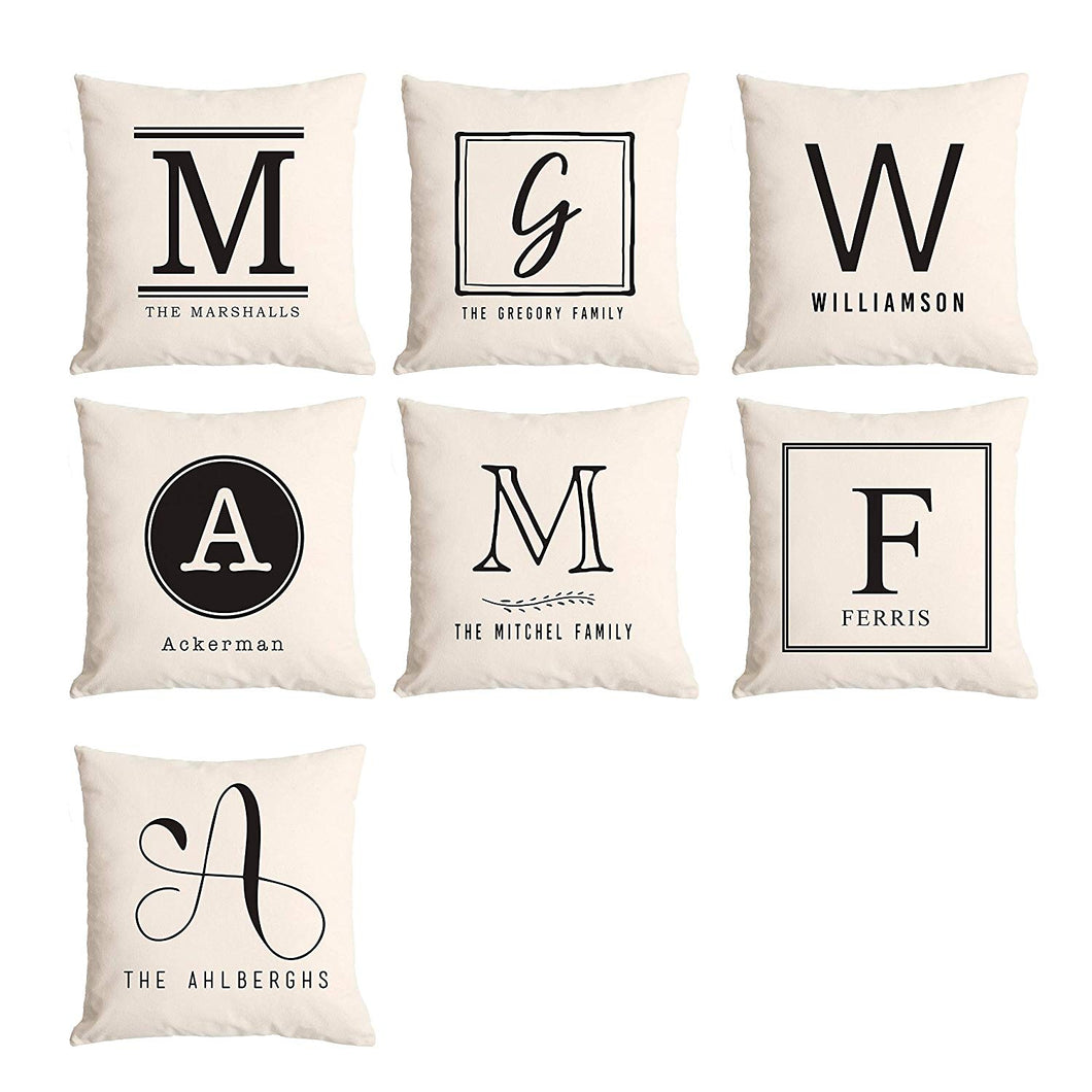American Laser Crafts Personalized Gift for Mom and Grandma, Monogram Throw Pillow Covers, Also Warming Gift
