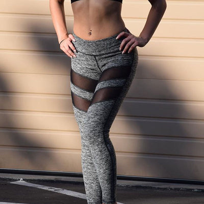 New Yoga Pants Women Workout Fitness Running Leggings Pants Jumpsuit Clothes Womens Slim Long Mesh Patchwork Sports Leggings