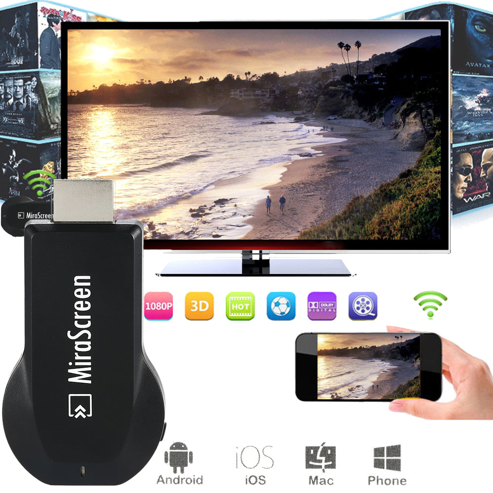 Mirascreen wifi HDMI OTA TV Stick Dongle Wi Fi Display Receiver better anycast DLNA Airplay Miracast Airmirroring
