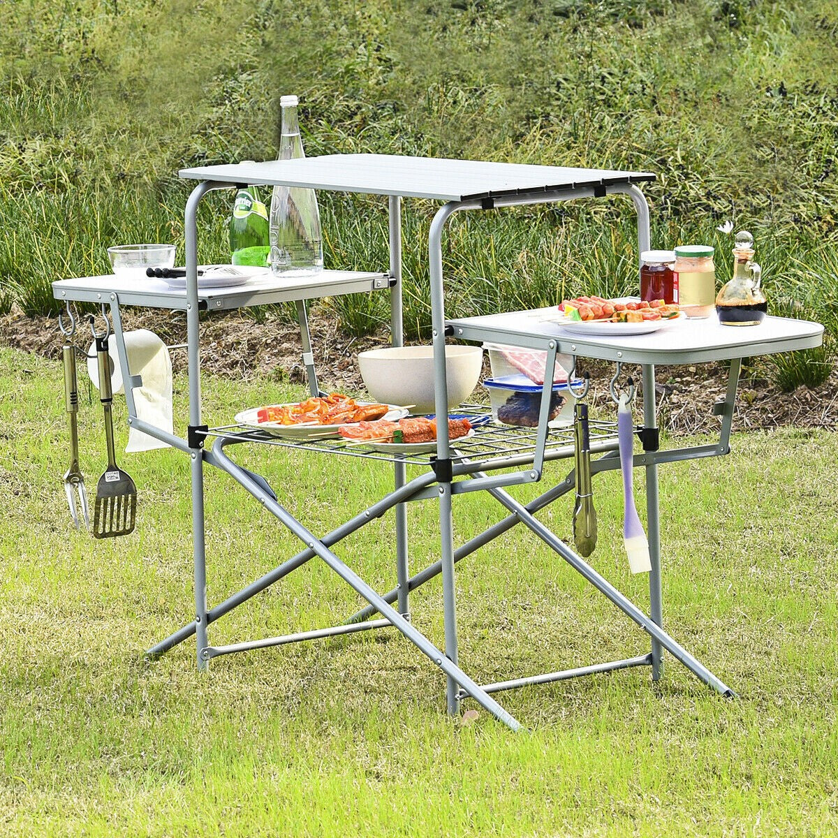 Folding Aluminum Camping Table BBQ Picnic Outdoors Garden Lightweight Carry Bag
