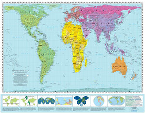 "Peters Equal Area Wall Map 39""x49"" Folded, w/ Panels"