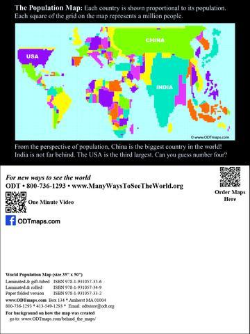 Population Map Post Cards 4x6