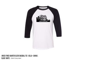 Detroit Coney Island Baseball Tee Black/White