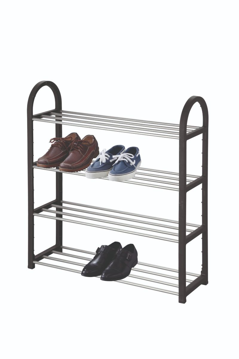 4 Tier Shoe Rack - Black**