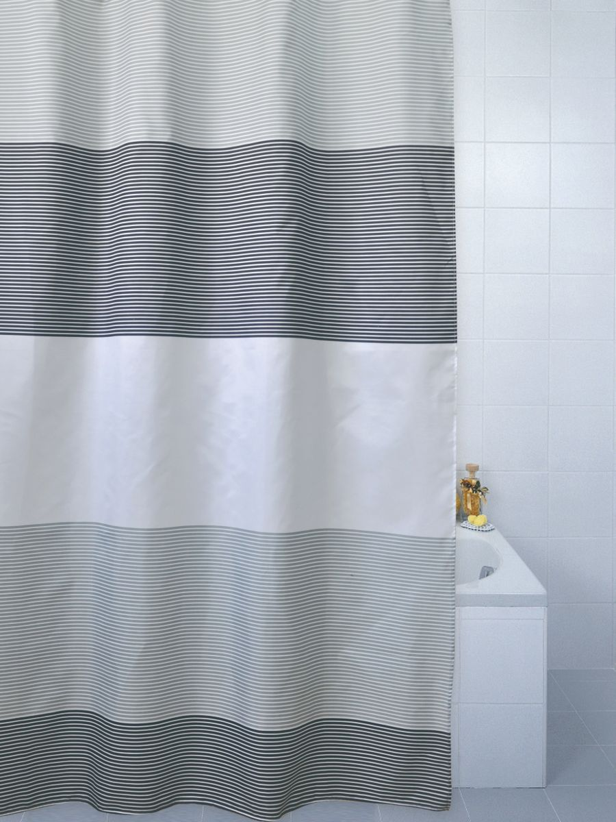 Horizon Polyester Shower Curtain Grey
