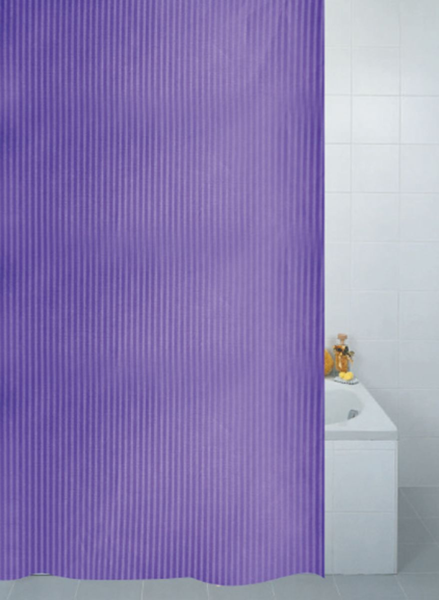 Stripe Textile Shower Curtain - Plum**
