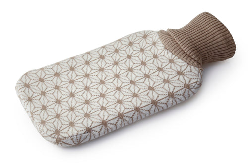 2L Hot Water Bottle + Knitted Cover Beige Geometric