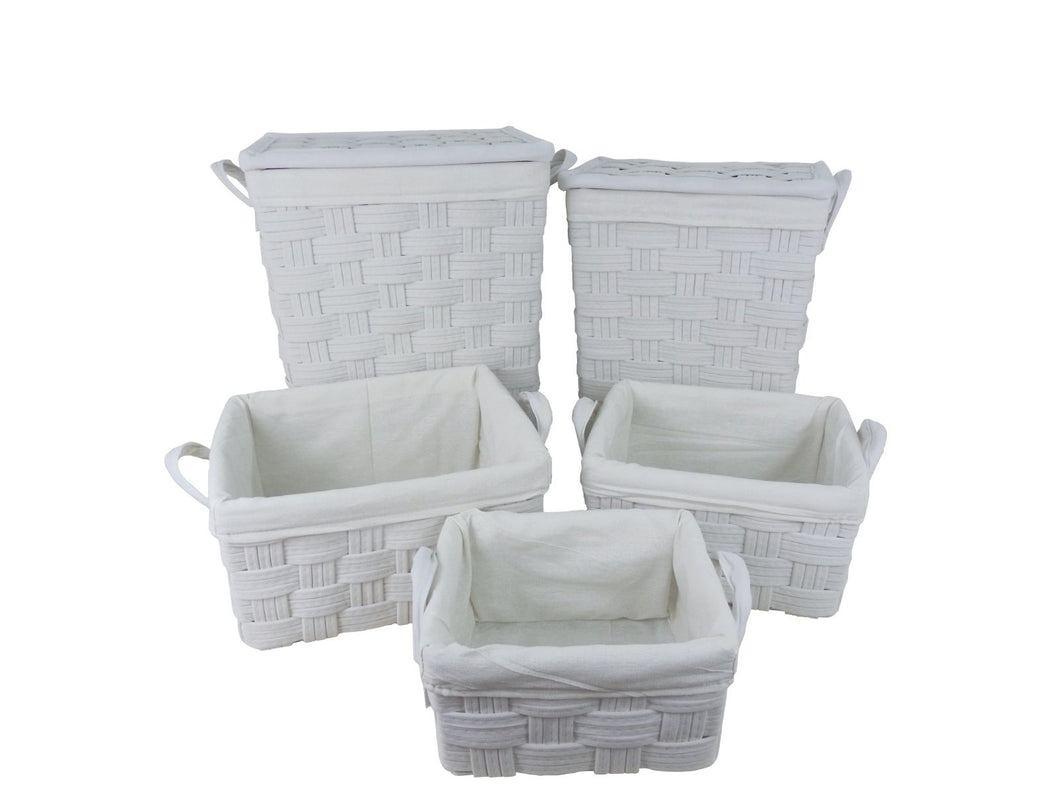 Milan Woven 5pc Storage Set White**