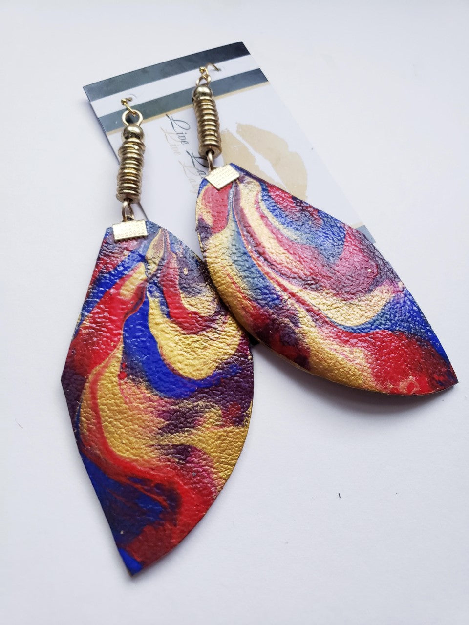 Multi-Color Custom Painted Geometric Earrings