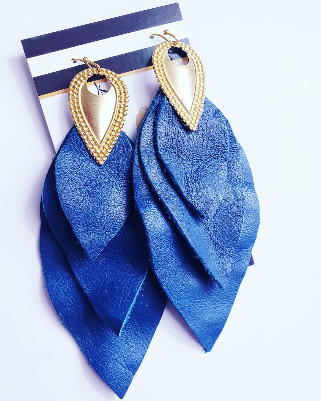 'Queen' Blue Leather Multilayer Dangles