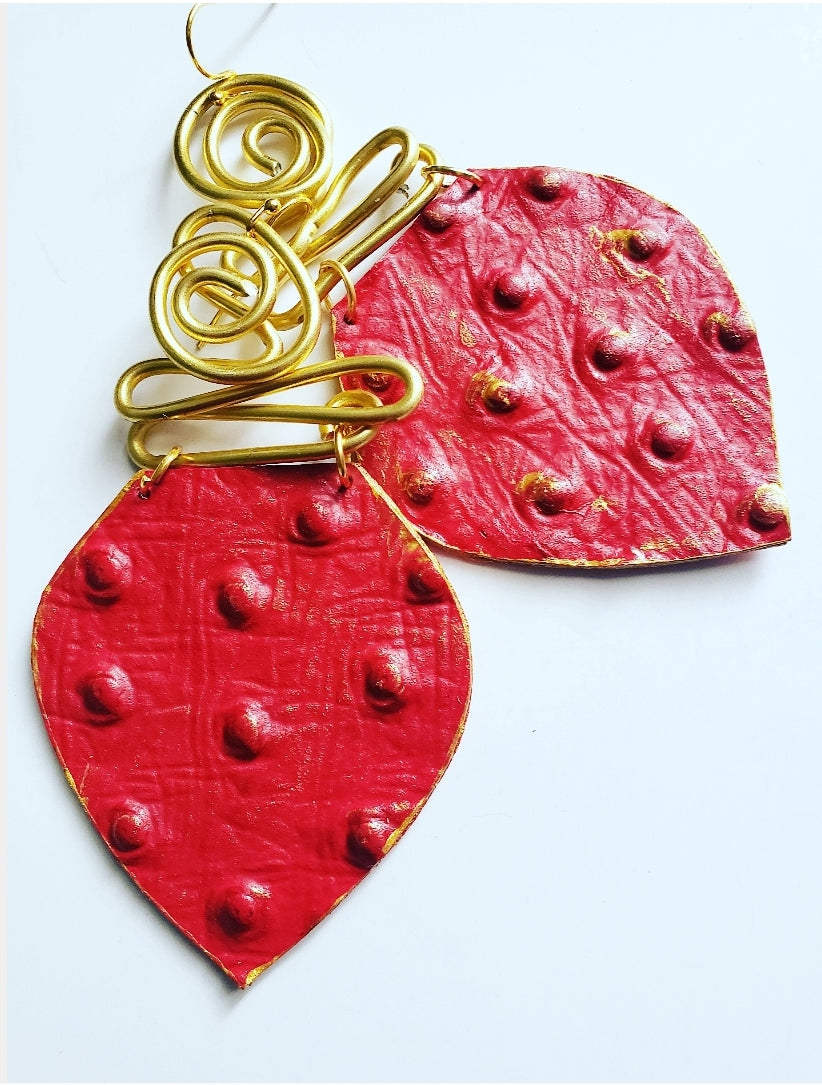 'Juicy Red' Ostrich Leather + Aluminum Dangles