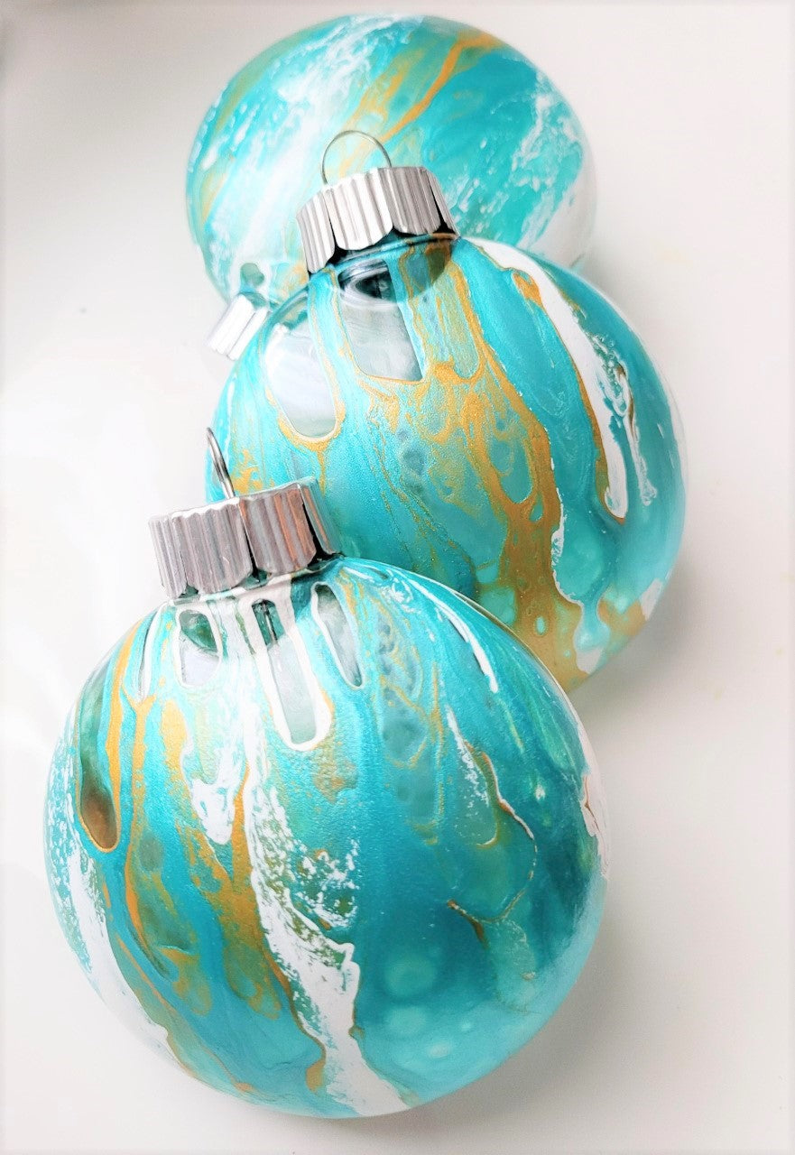 'Under the Sea' Turquoise + Gold + White Custom-Painted Ornament