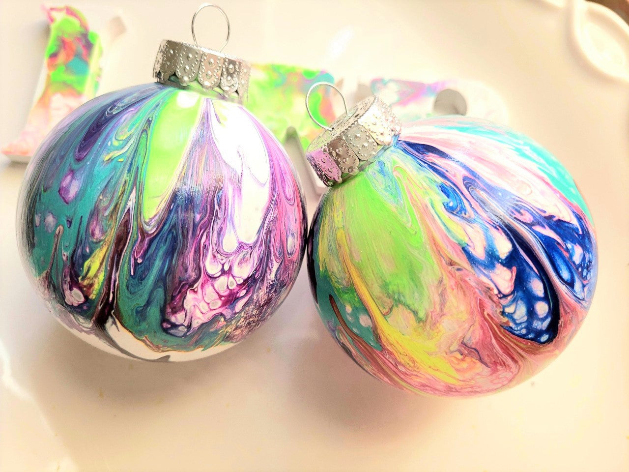 'Deep Pastel' Purple + Green + Blue + Pink + Yellow Custom-Painted Ornaments