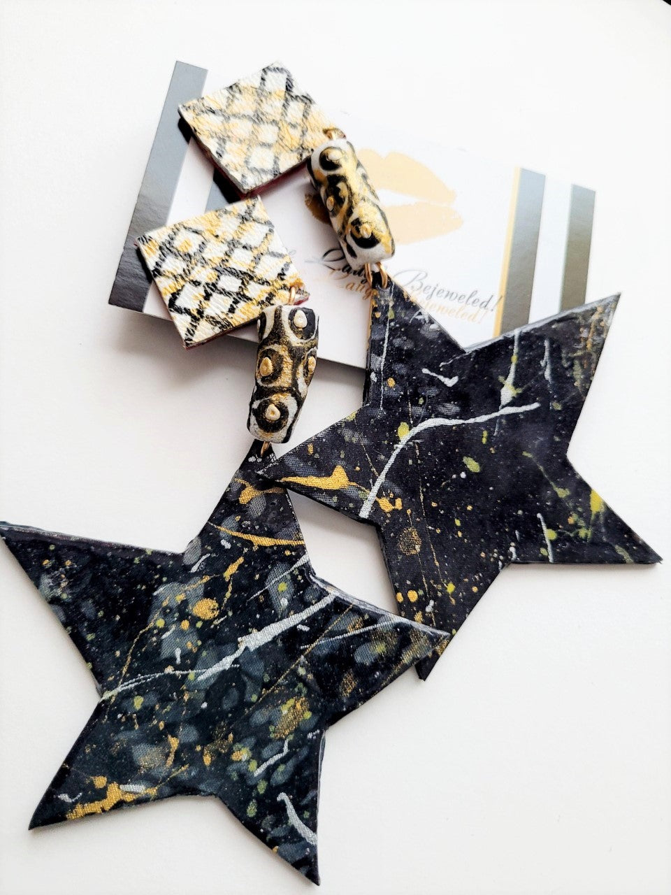 'Star Ship' Black + Silver + Gold Custom-Painted Leather Dangles