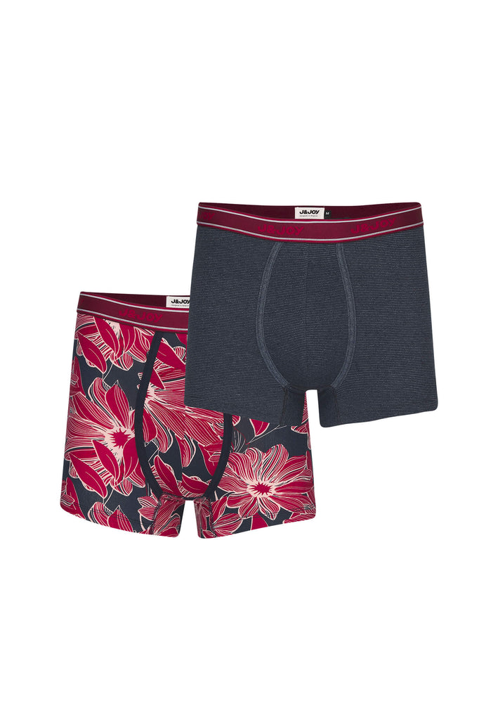 Duo-Boxers Homme 04 Fjord Stripes & Red Flowers