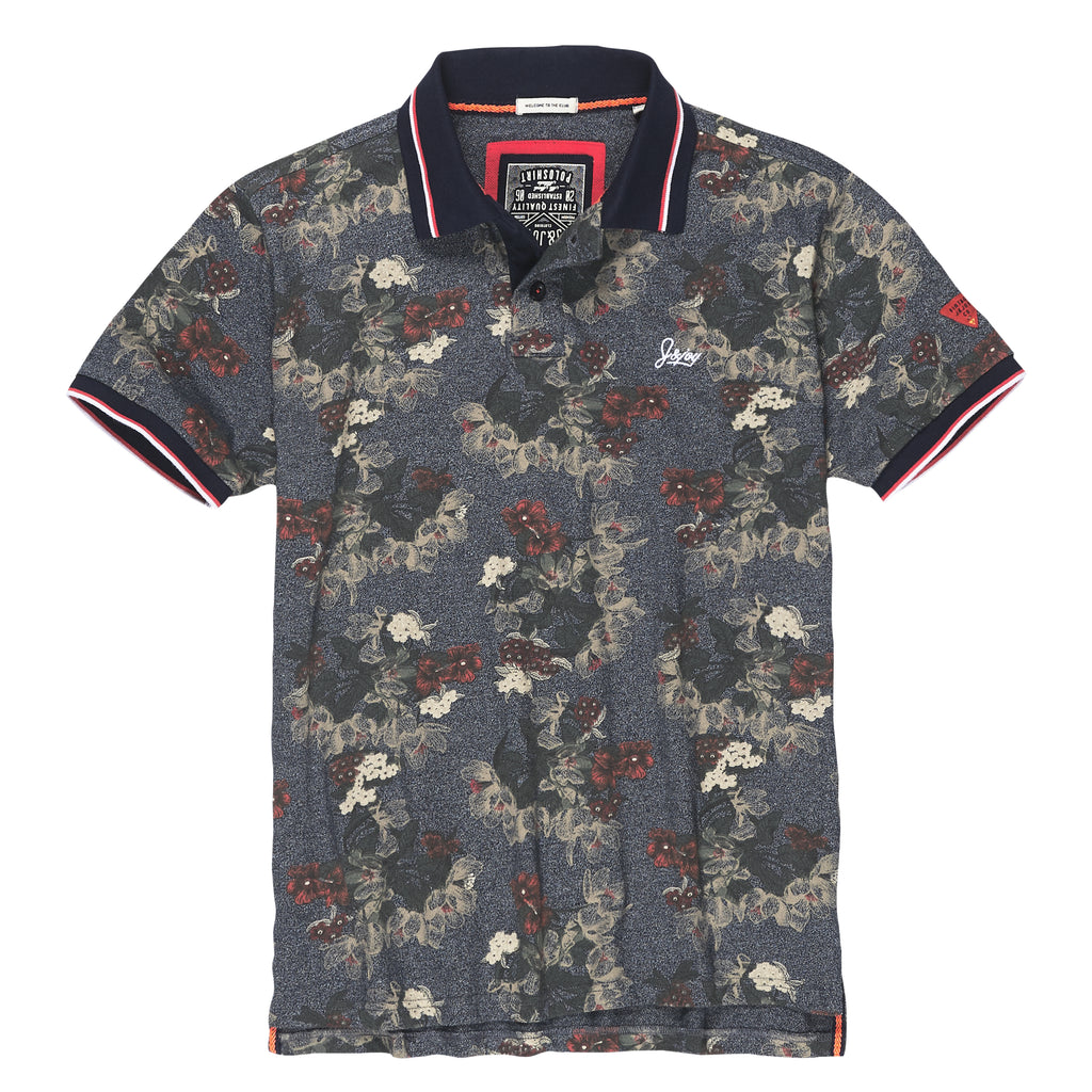 Polo Homme 14 Grey Flowers Print | J&JOY