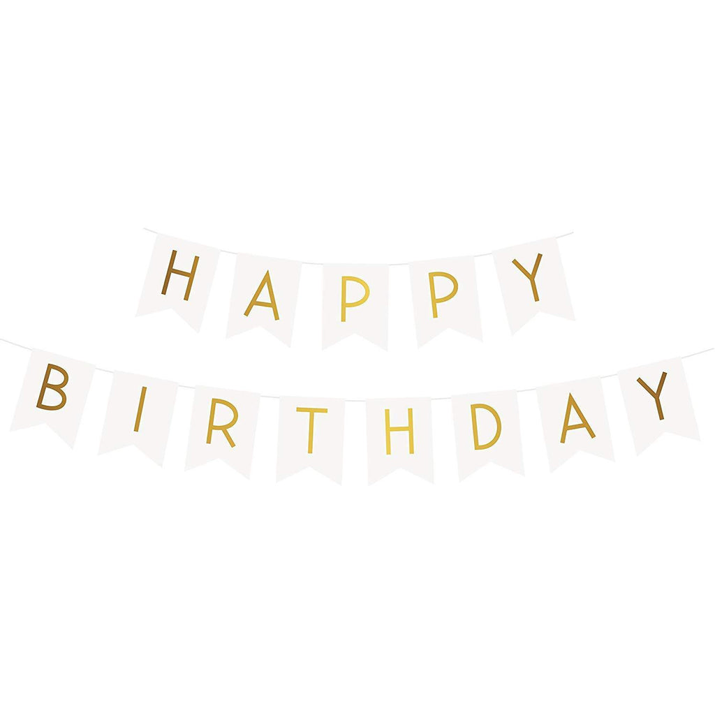 Happy Birthday White Banner with Gold Foil