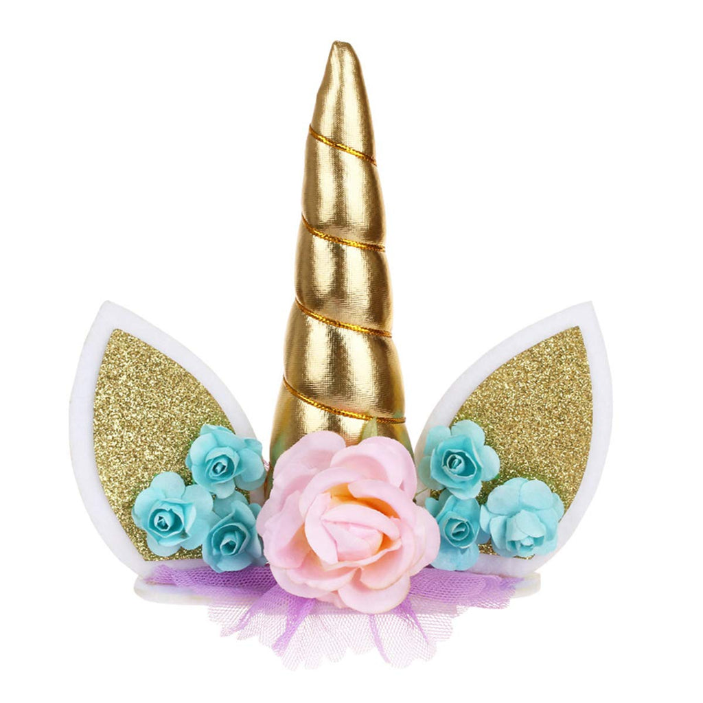 Magical Unicorn Gold Horn Cake Topper