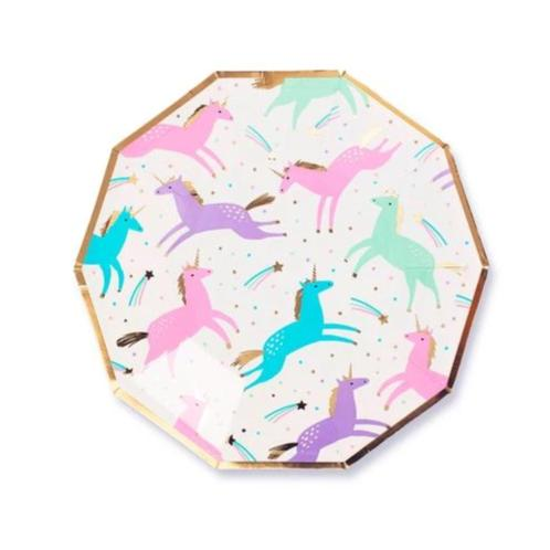 "9"" Magical Unicorn Plates"