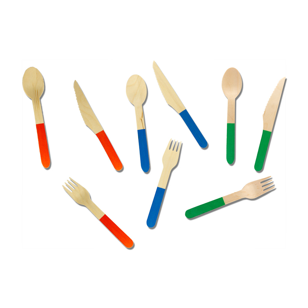 Biodegradable Wooden Cutlery (Blue)