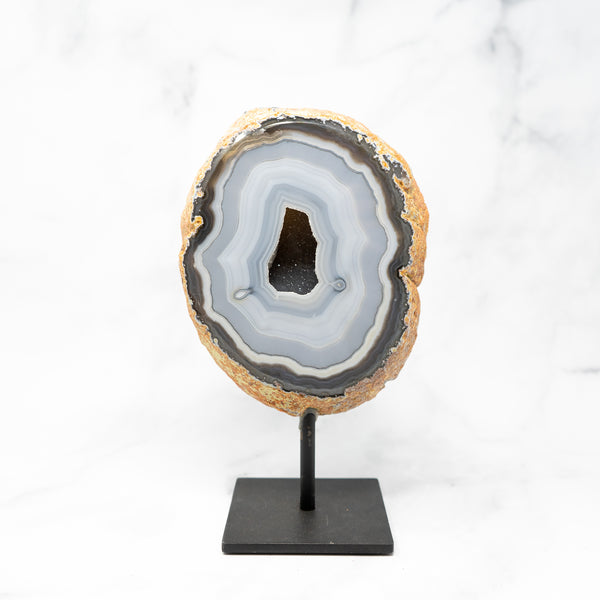 Agate & Quartz Geode on Stand