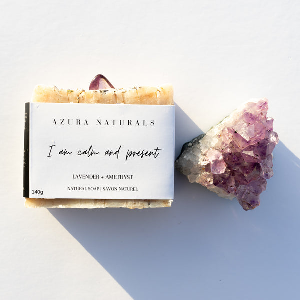 Crystal & Soap Duo | I am calm and present + Amethyst Cluster