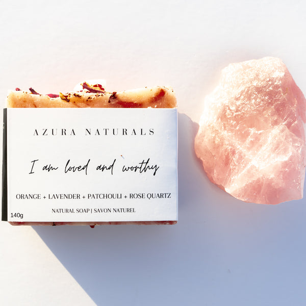 Crystal & Soap Duo | I am loved and worthy + Rose Quartz Chunk