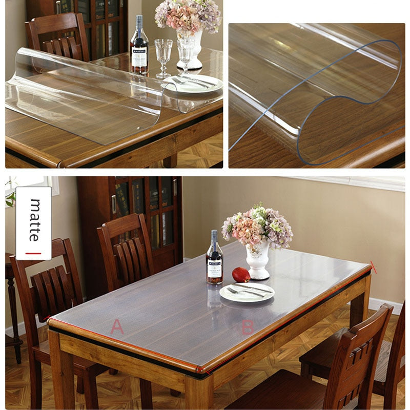 Waterproof PVC Tablecloth Table cloth Transparent Table Cover Mat