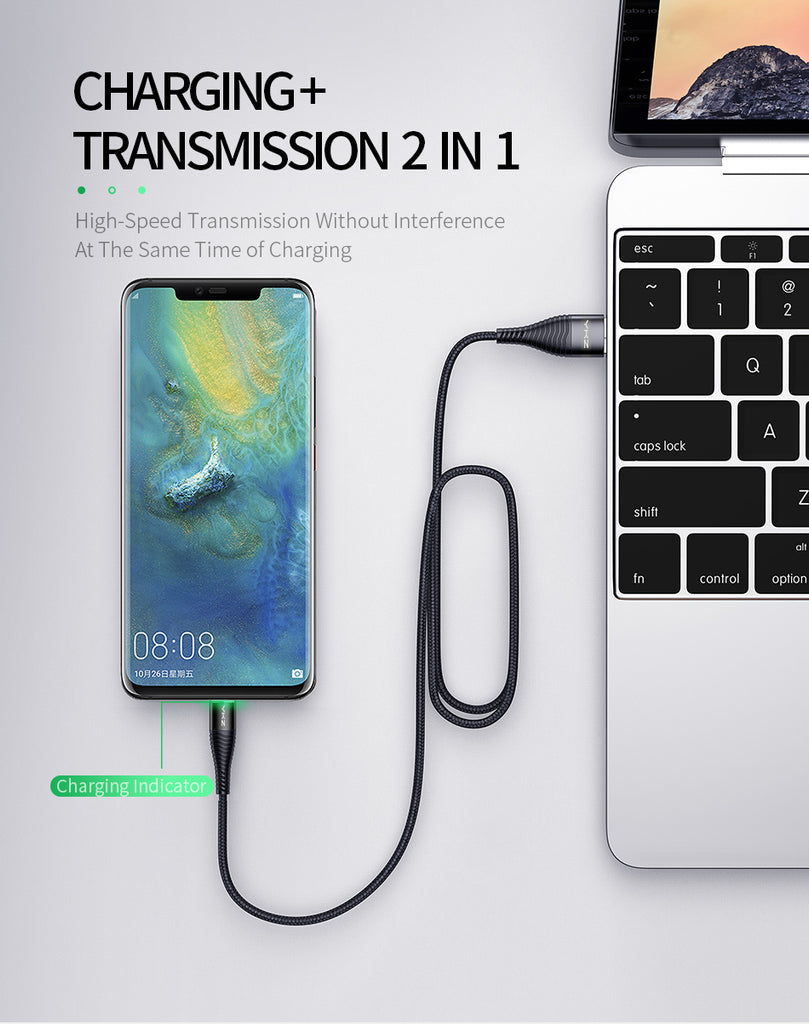 YKZ LED 3A USB Type C Cable Fast Charge Wire Type-C for Samsung Galaxy Xiaomi Huawei Mobile Phone