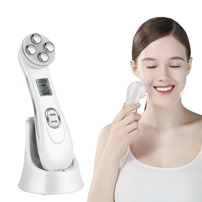Ultrasonic Skin Scrubber Face Cleaning Peeling Machine + Light Facial Massager