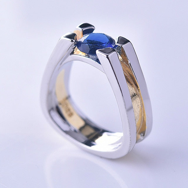 Unique Two Tone 925 Silver Blue Geometric Ring yellow gold Wedding Jewelry
