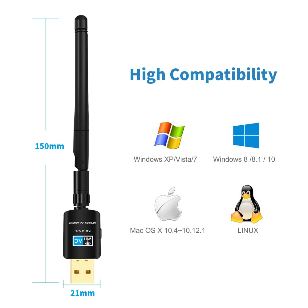 Terow usb wifi adaptador 5.8 ghz + 2.4 ghz wi-fi receptor