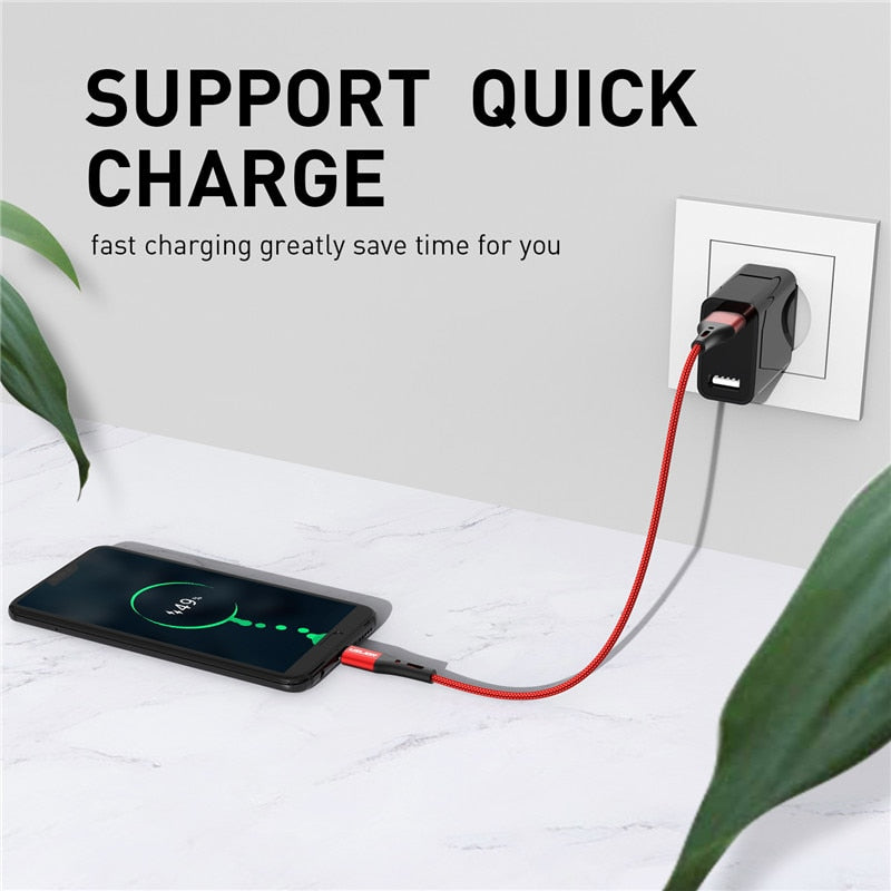 USLION 3A USB Type C Cable Fast Charging Wire for Samsung Galaxy S8 S9 Plus Xiaomi