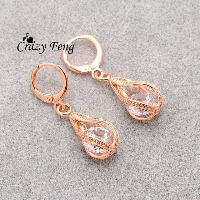 Elegant Pink CZ Crystal Earrings Rose Gold Color Hollow Out Drop Earrings for Women
